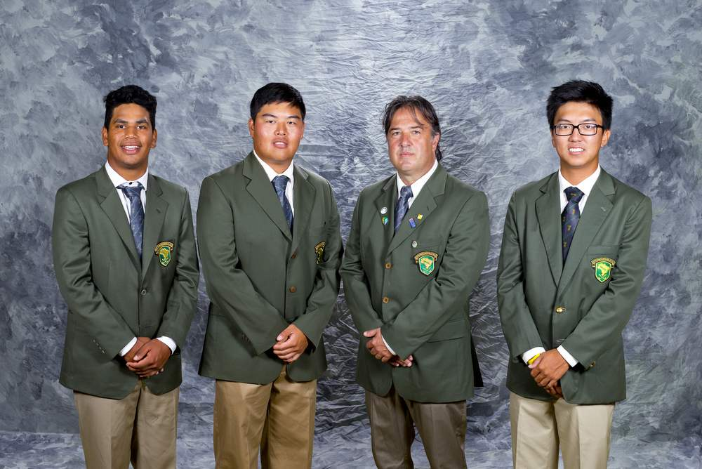 Brazil World Amateur Team, from left to right, Herik Machado, Gustavo Chuang, captain Octavio Villar, and Daniel Kenji Ishii as seen during the practice round at the 2016 Eisenhower Trophy at Iberostar Resort in Riviera Maya, Mexico on Tuesday, Sept. 20, 2016.  (Copyright USGA/Steve Gibbons)